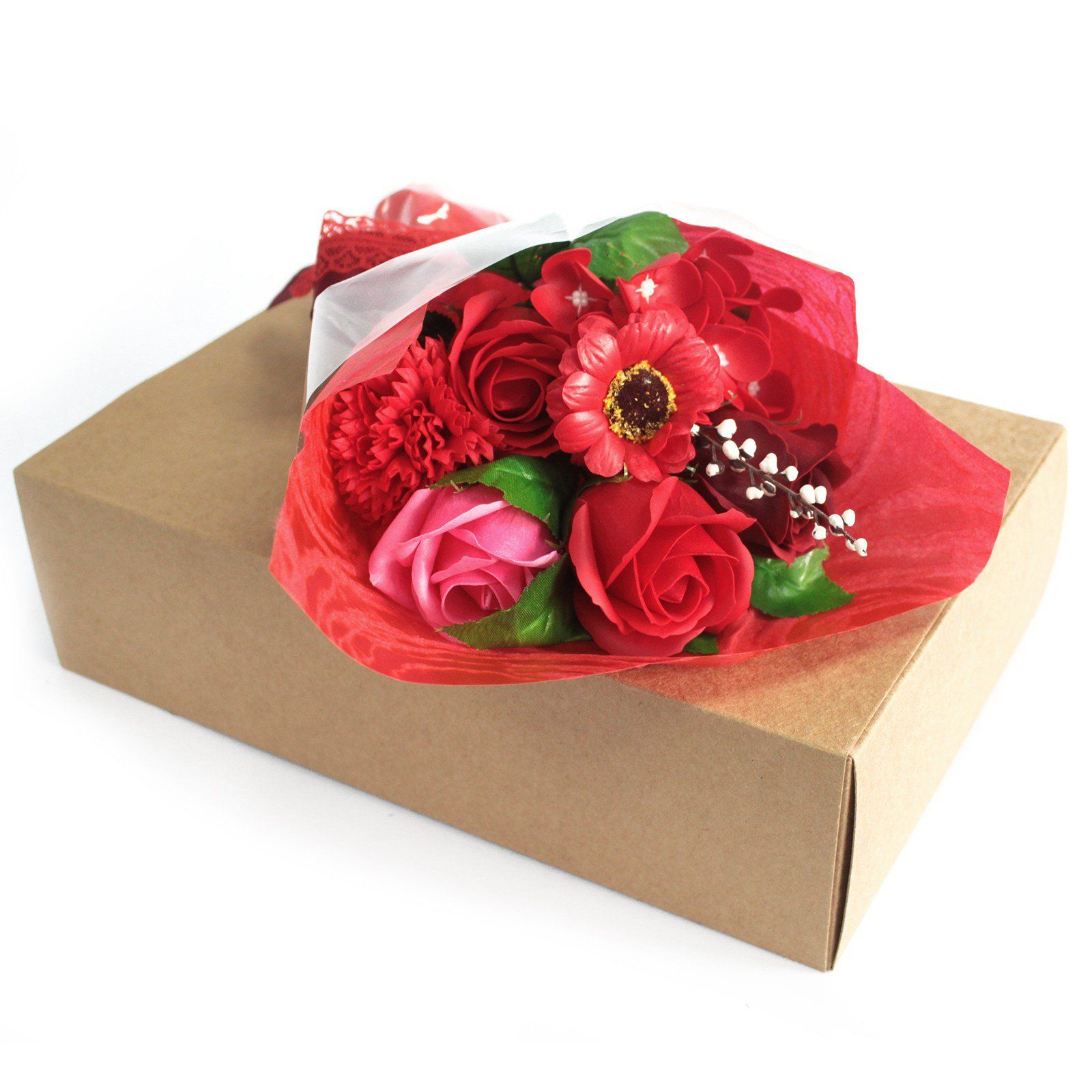 Red Soap Flower Bouquet (With images) Flower soap