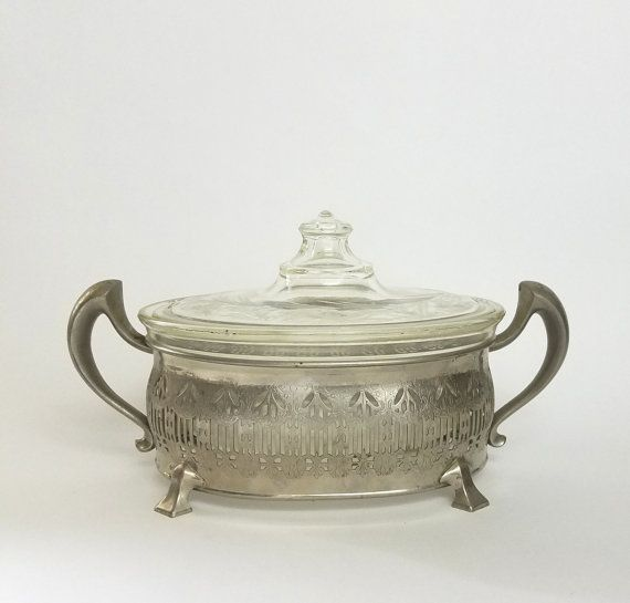 Vintage Silver Plate Footed Serving Stand Trivet Trophy Handles Royal Rochester With Small Oval Etched Pyrex Lidded Casserole Dish