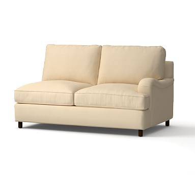 PB Comfort English Arm Upholstered Right Arm Love Seat, Box Edge Polyester Wrapped Cushions, Washed Linen/Cotton Camel