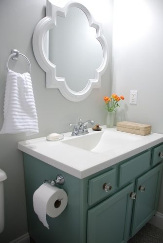 Small Bathroom Makeover Reveal Benjamin Moore Moonshine Olympic Footpath Quatrefoil Mirror Target Threshold Moen Preston Delta