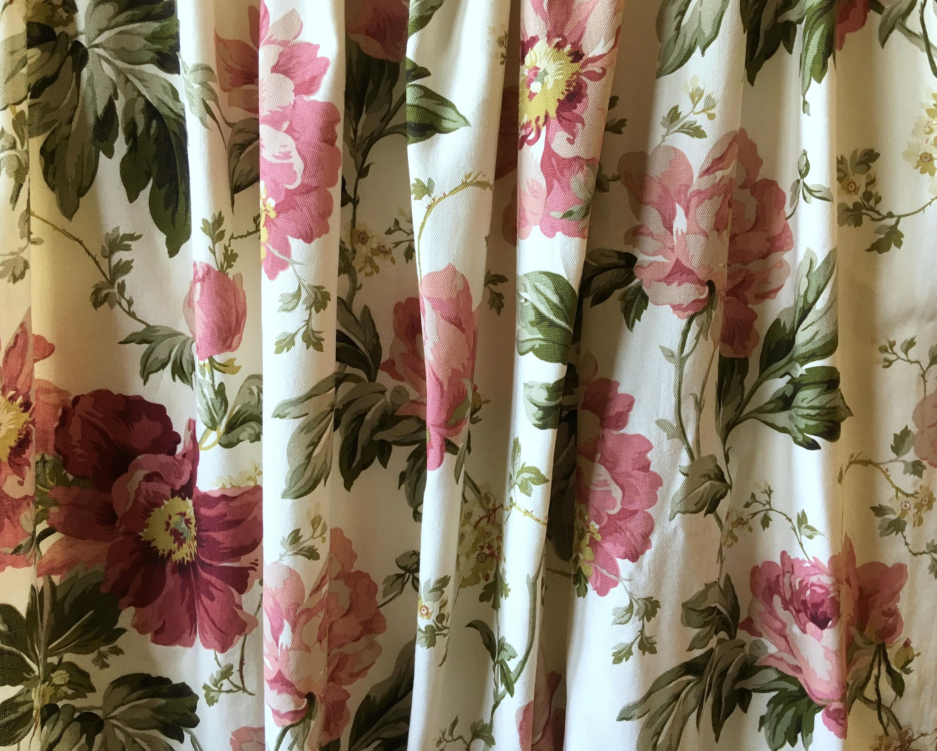 A Pair of vintage curtains with a floral screenprint design by Moygashel.