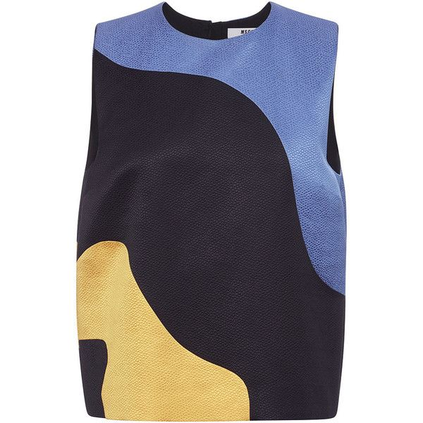 MSGM Hammered Satin Sleeveless Top (1,520 ILS) ❤ liked on Polyvore featuring tops, colorful tank tops, satin tank top, blue tank, sleeveless tops и blue top
