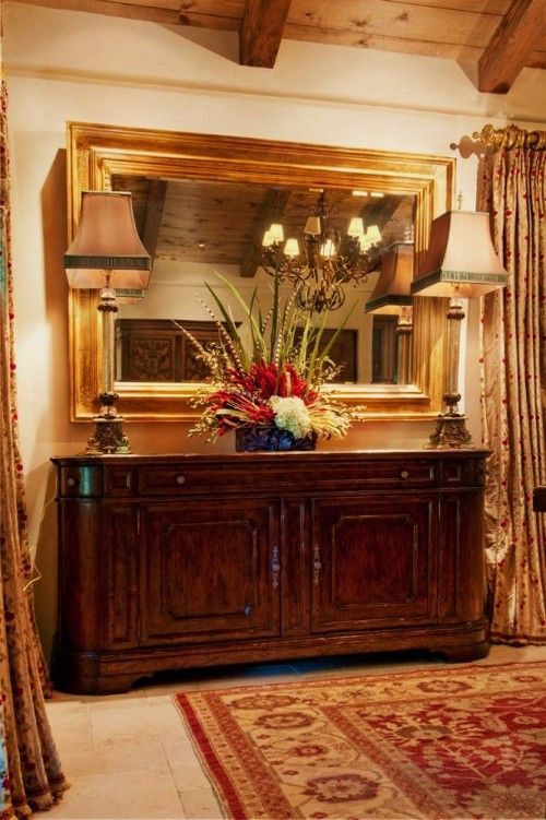 Large Mirror Over The Buffet  Makes Me Think Mine Is Too Small Beauteous Narrow Dining Room Hutch Design Decoration