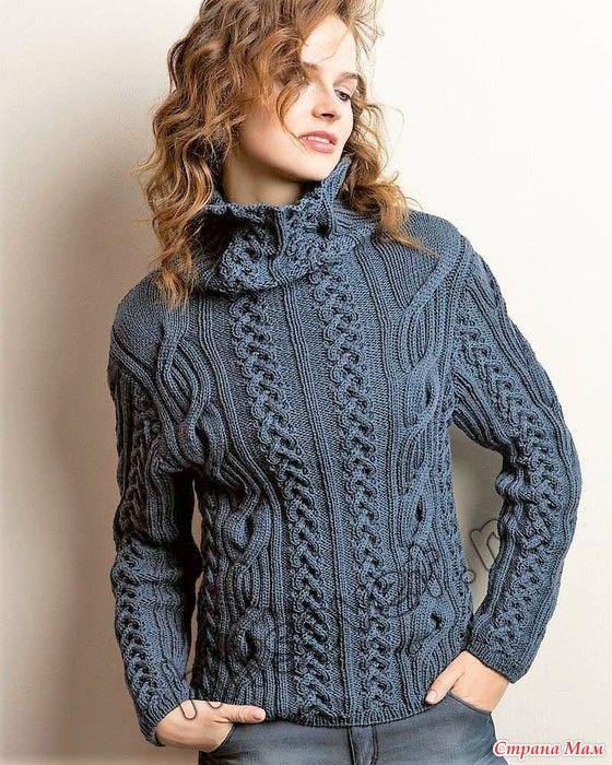 Свитер с рельефными узорами и косами. Спицы. | Knitting,sewing ...