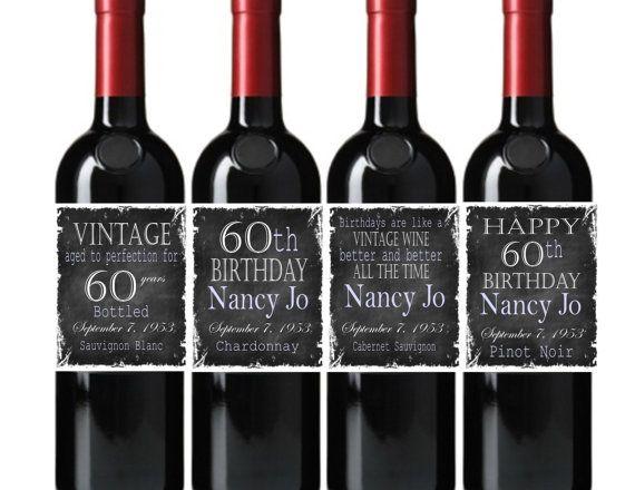 Happy Birthday Wine Bottle Labels Vintage Chalkboard You Choose Colors Custom Happy Birthday Wine Bottle Labels Happy Birthday Wine Birthday Wine Bottle Labels