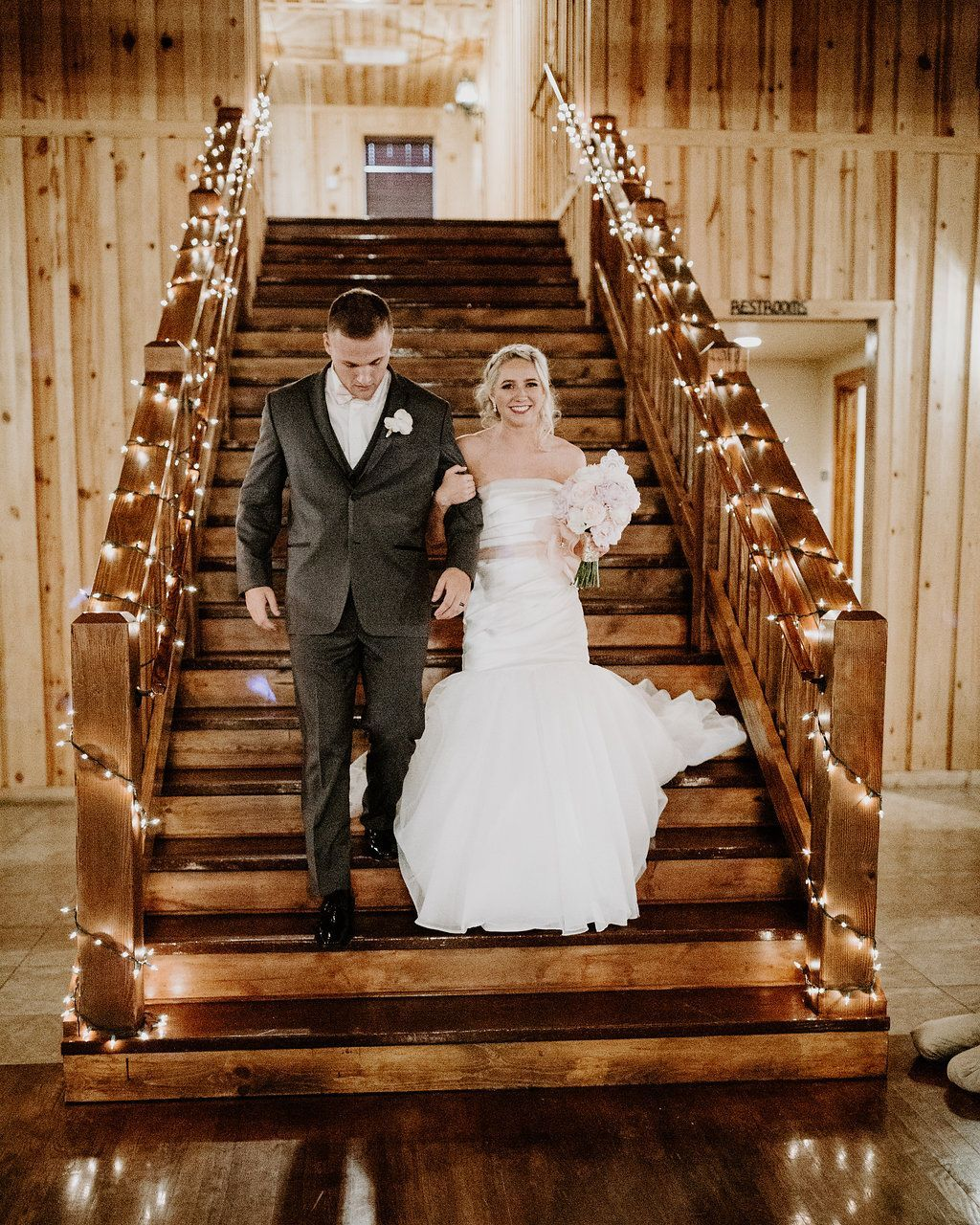 Wedding Staircase With Christmas Lights On The Railings Wedding Staircase Decor Ideas Wedding City Wedding Venues Oklahoma Wedding Venues Wedding Stairs