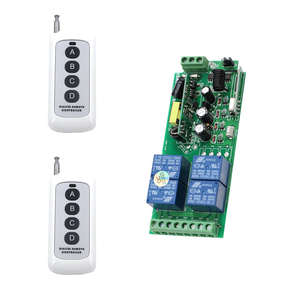 Radio Switch Ac 85v 110v 220v 250v Rf 4ch Wide Voltage Wireless Remote Lighting Switch 2pcs Digital Remote Controlle Remote Electrical Equipment Digital