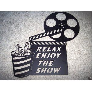 Movie Reel Wall Decor clapboard, movie reel relax enjoy the show home movie theater