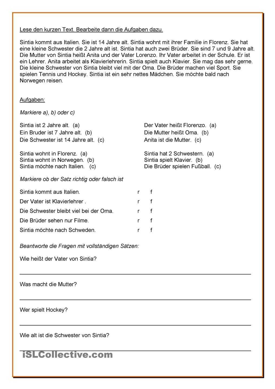 Leseverständnis: 4 kurze Texte | Nèmet nyelvtan | Pinterest ...