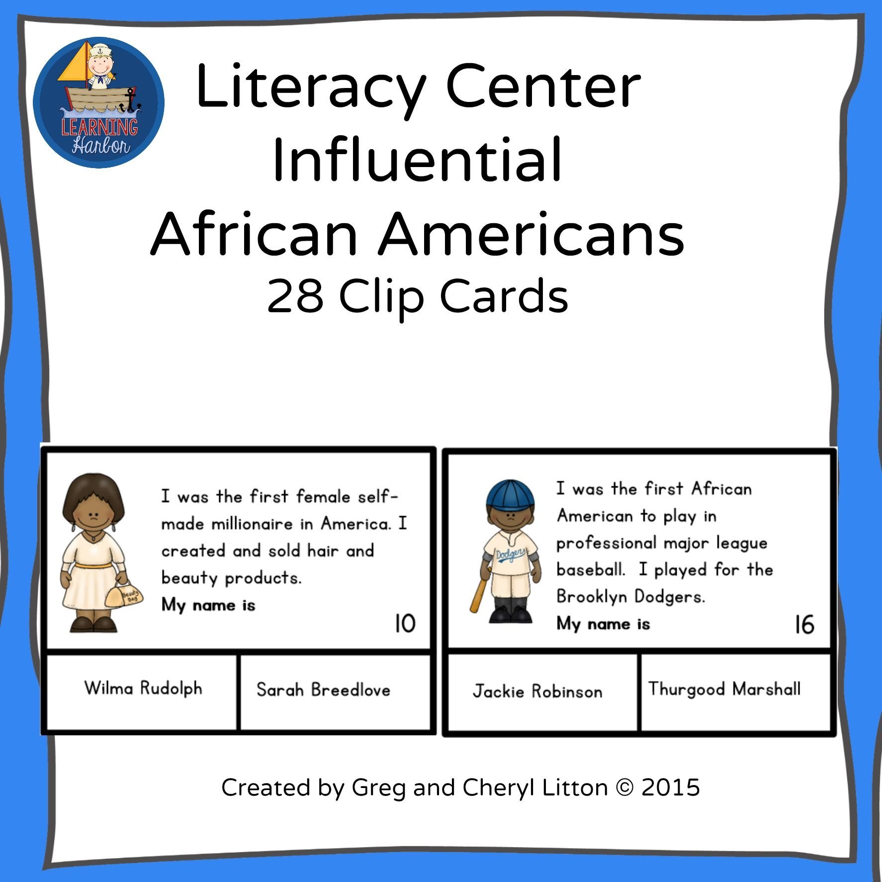 Clip Cards For Influential African Americans A Book Suggestion Is Inclued For Each Clip Card You Al Literacy Centers Literacy Black History Month Worksheets [ 1774 x 1774 Pixel ]