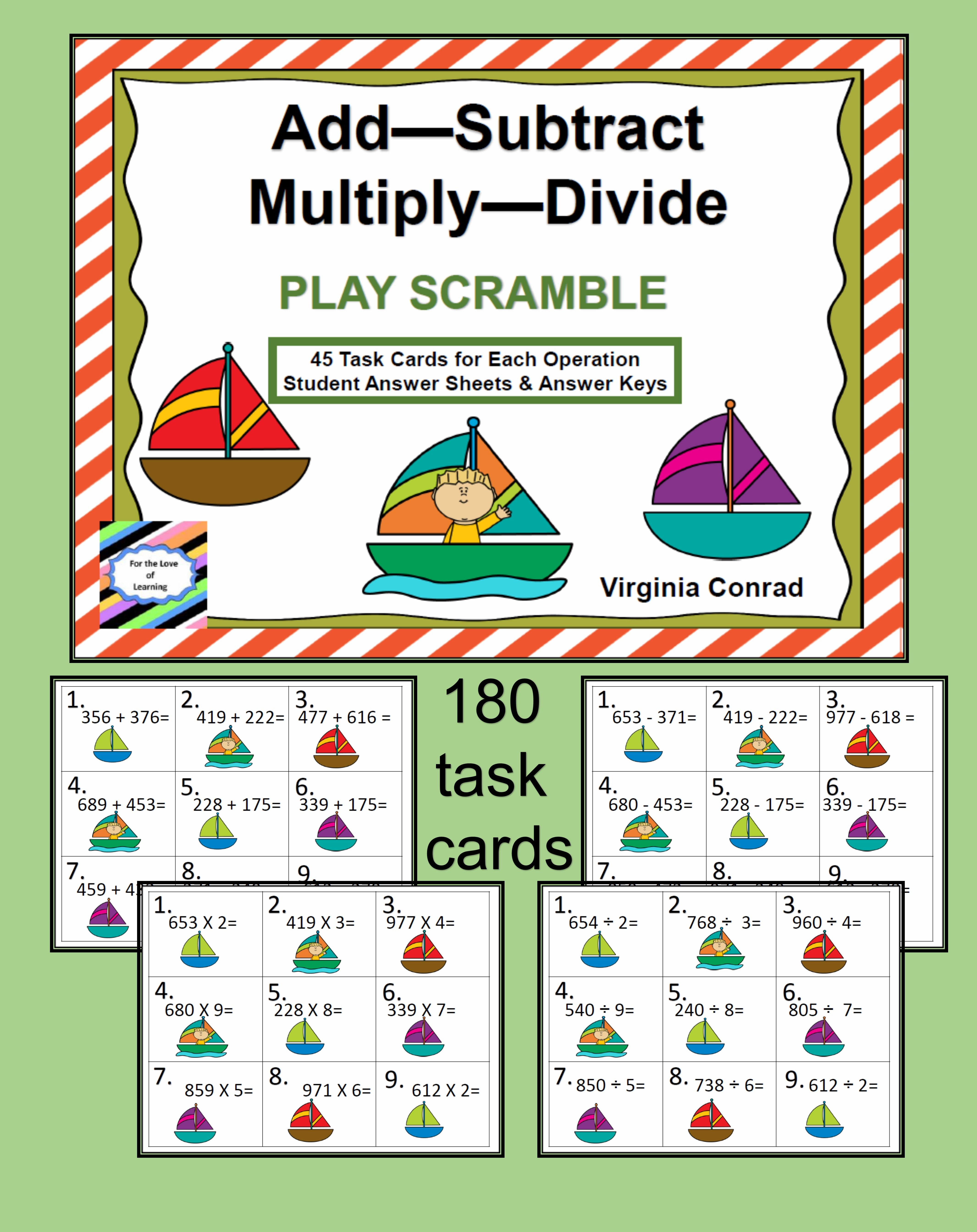 Add Subtract Multiply Divide Sailing Theme
