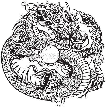Дракон, держащий жемчуг темнокожий белый — стоковая ...
