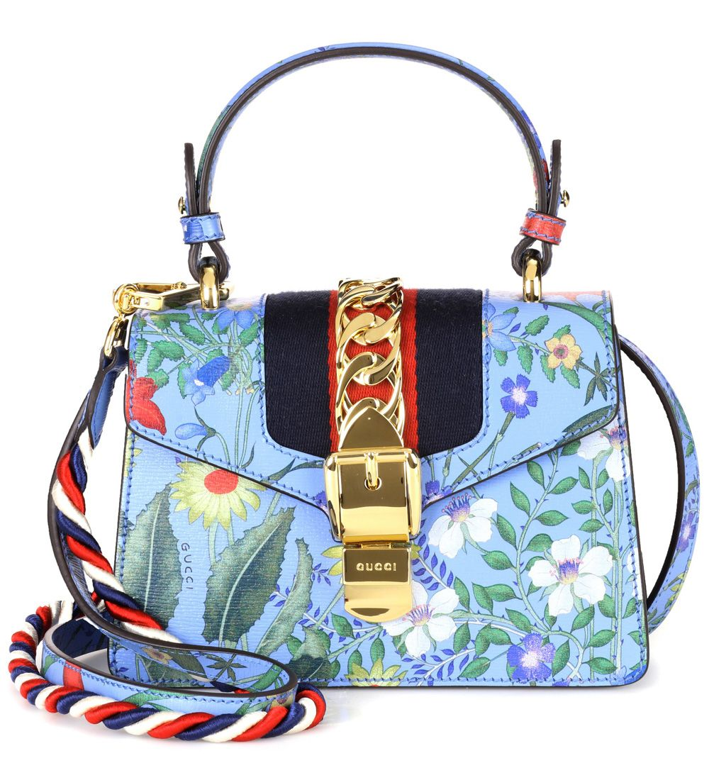 70f4283f469 Gucci Sylvie New Flora leather shoulder bag Blue  P00273220  -  239.00    Upscalebags.cn