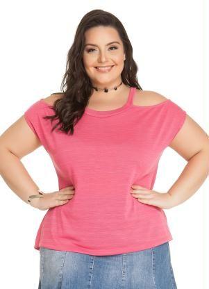 Blusa com Recorte nos Ombros (Rosa) Miss Masy Plus  90cfaceb7411c