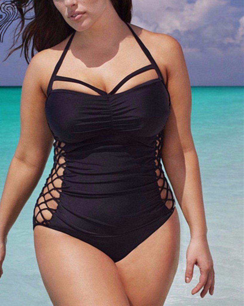 5dcdb0694cc Big Girls Sexy Black Swimsuit Lace Up Side Halter Top Plus Size Bathing Suit