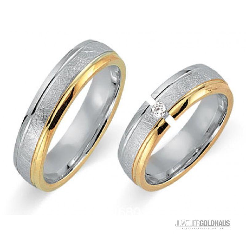 Trauringe Eheringe Gold Gelb/Weiss - CERA3211 - 929,00€ Trauringe Eheringe bei Juwelier-Goldhaus.de online kaufen #Trauringe #Eheringe aus #Gold Gelbgold - #Gol…