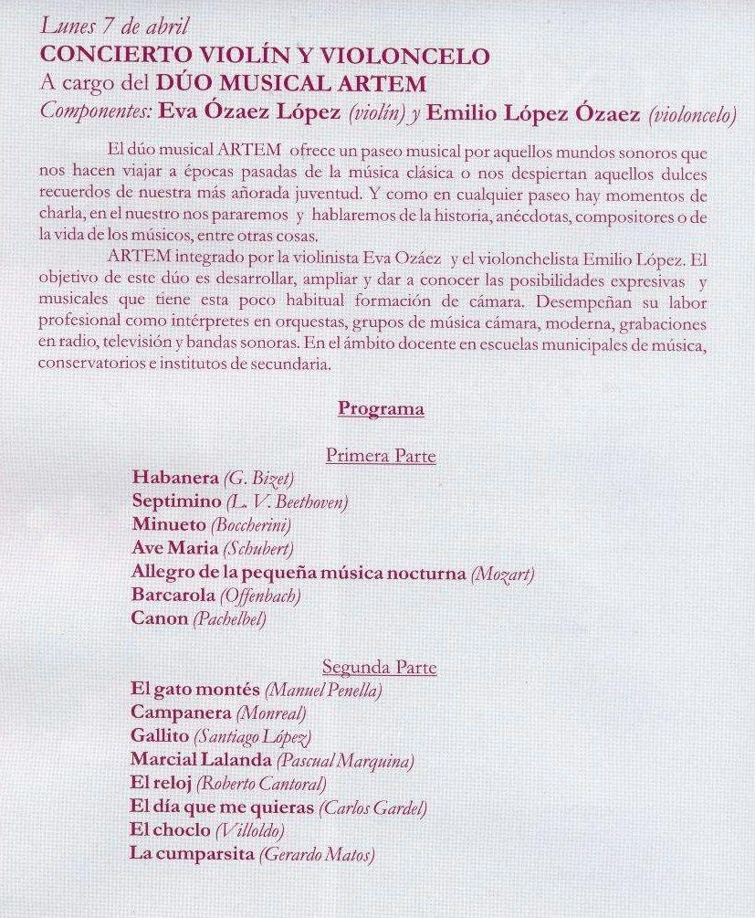 Programa de concierto en Ciudad Real..