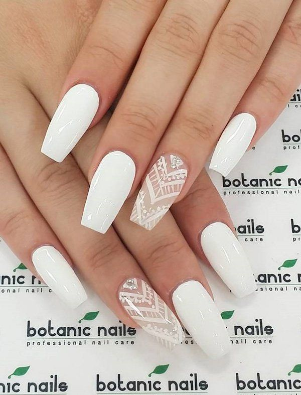 50 White Nail Art Ideas | Diamond stone, White nail art and White nails