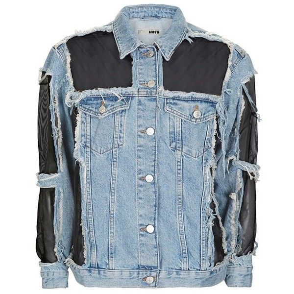 Topshop Moto Organza Oversized Denim Jacket 245 Bam Liked On Polyvore Featuring Outerwear Jackets Denim Jacket Upcycled Denim Jacket Petite Denim Jacket