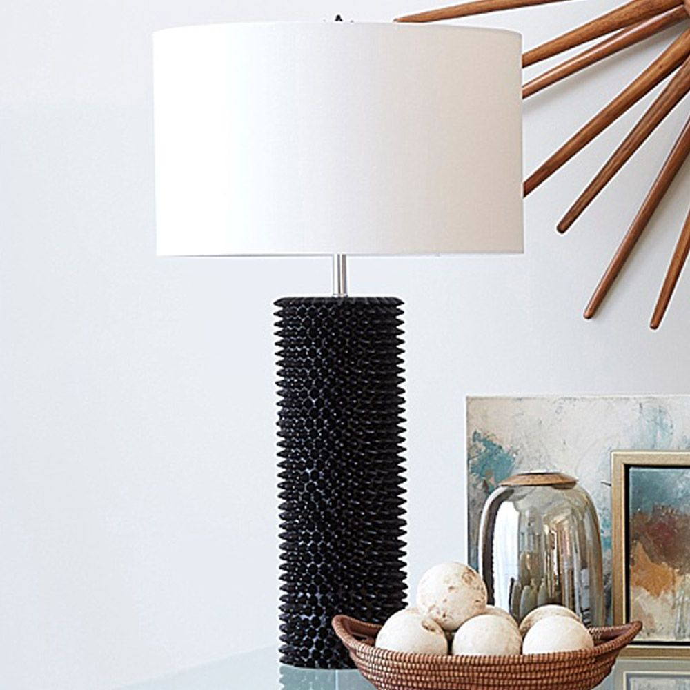 Our Black Spiked Table L& is modeled after the spiked sea urchin. This chic spiked black l& will add visual interest to any room. & Black Spiked Table Lamp | Black lamps Room and Lights