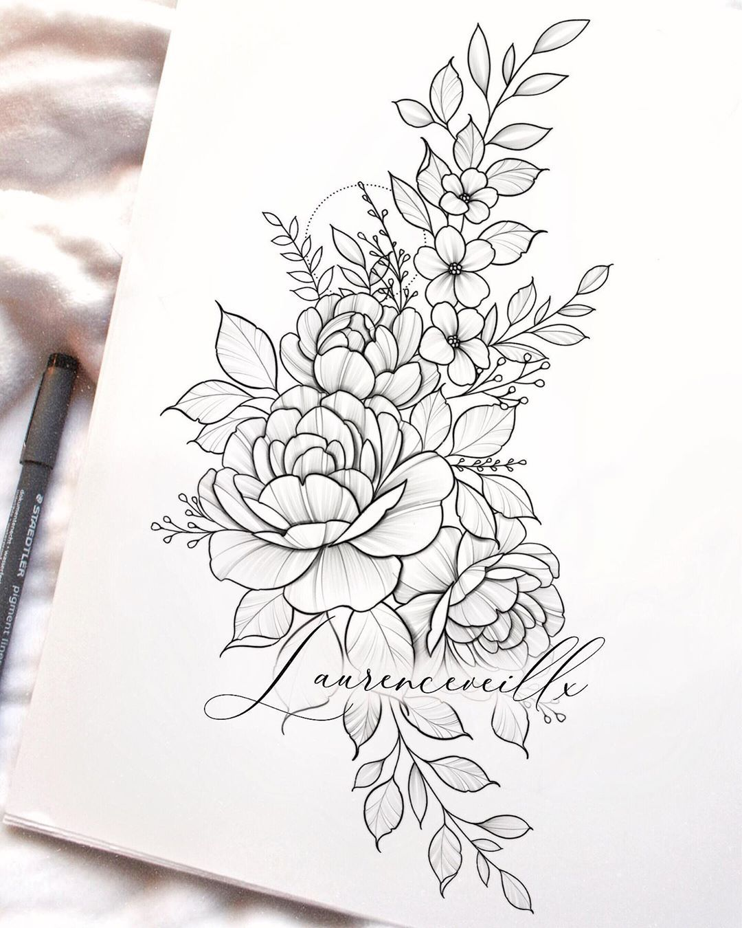 "Laurence | Artist 🌻 on Instagram: ""Wildflowers🌾🖤 tattoo design available on my online shop • perfect for a hip piece . . . . #tattoodesign #hiptattoo #tattoodrawing…"""