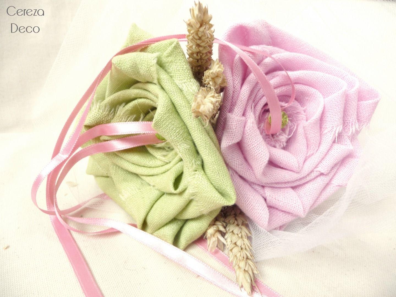 Mariage champetre chic porte alliance original rose vert épis de blé personnalisable