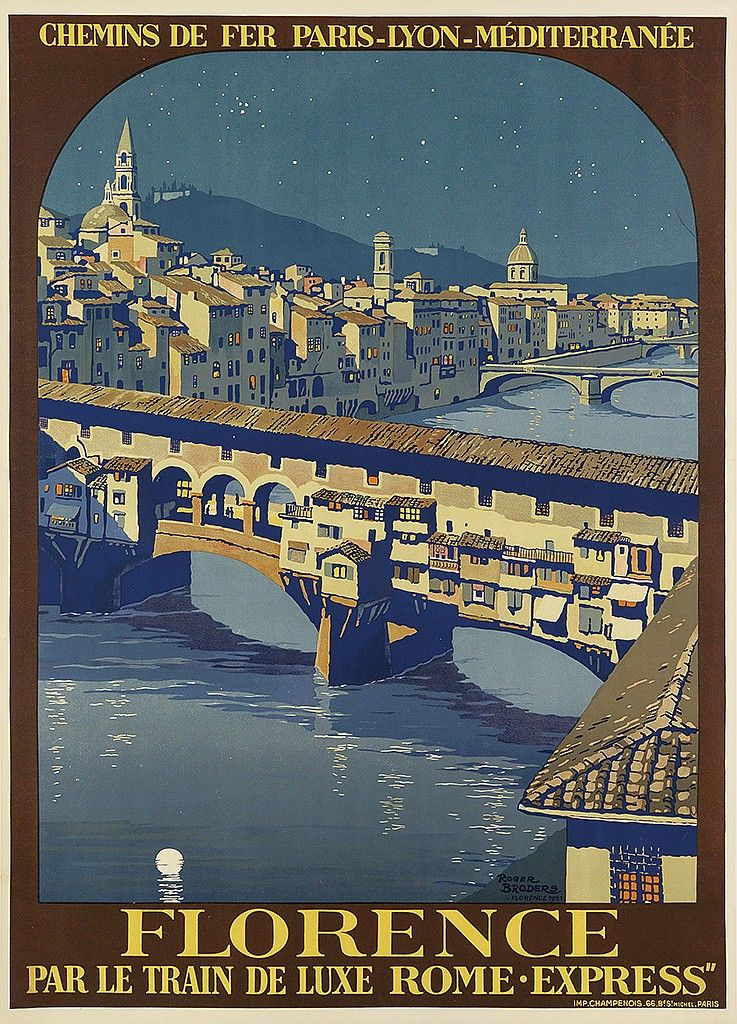 ROGER BRODERS (1883-1953). FLORENCE. 1921. 41x29 inches, 104x75 cm. Champenois, Paris.