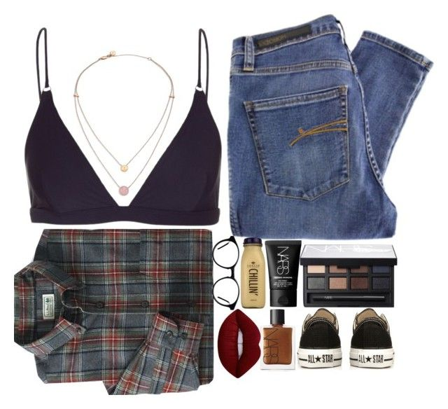 """""""Lazy day with my dog, facetiming bf"""" by kittensnamedmittenandsocks ❤ liked on Polyvore featuring Acne Studios, NARS Cosmetics, Nobody Denim, Michael Kors, Converse, CO and Lime Crime"""