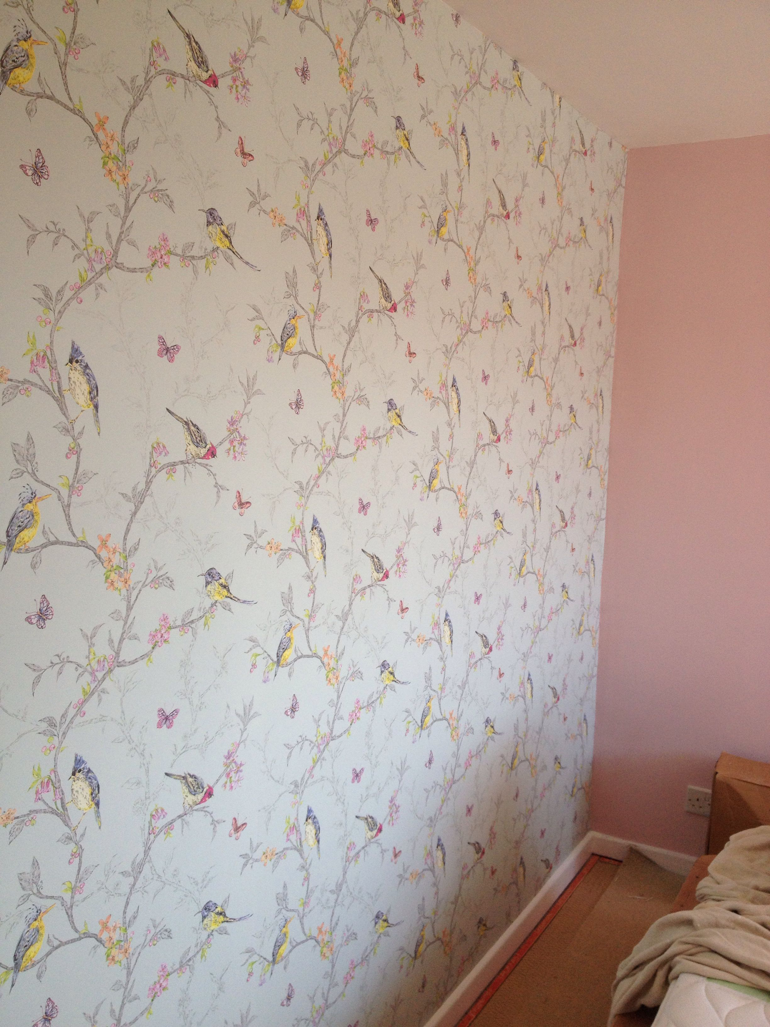 Finished Beautiful Phoebe Wallpaper In Duck Egg Blue From Wallpaperdirect Coordinated With Crown Pink Girl Room Pink Bedroom For Girls Bird Wallpaper Bedroom