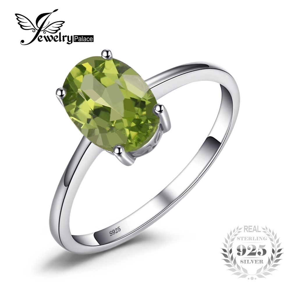 JewelryPalace Oval 1.4ct Natural Green Peridot Birthstone Solitaire Ring Genuine 925 Sterling Silver JRGcW5FG