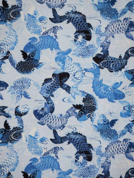 Remnant indigo koi fish on sky blue print pure cotton for Koi fish print fabric