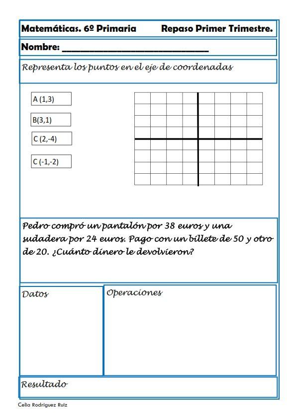 Ejercicios De Matemáticas Para Sexto De Primaria Matematica Ejercicios Matematicas Ejercicios Matematicas Primaria
