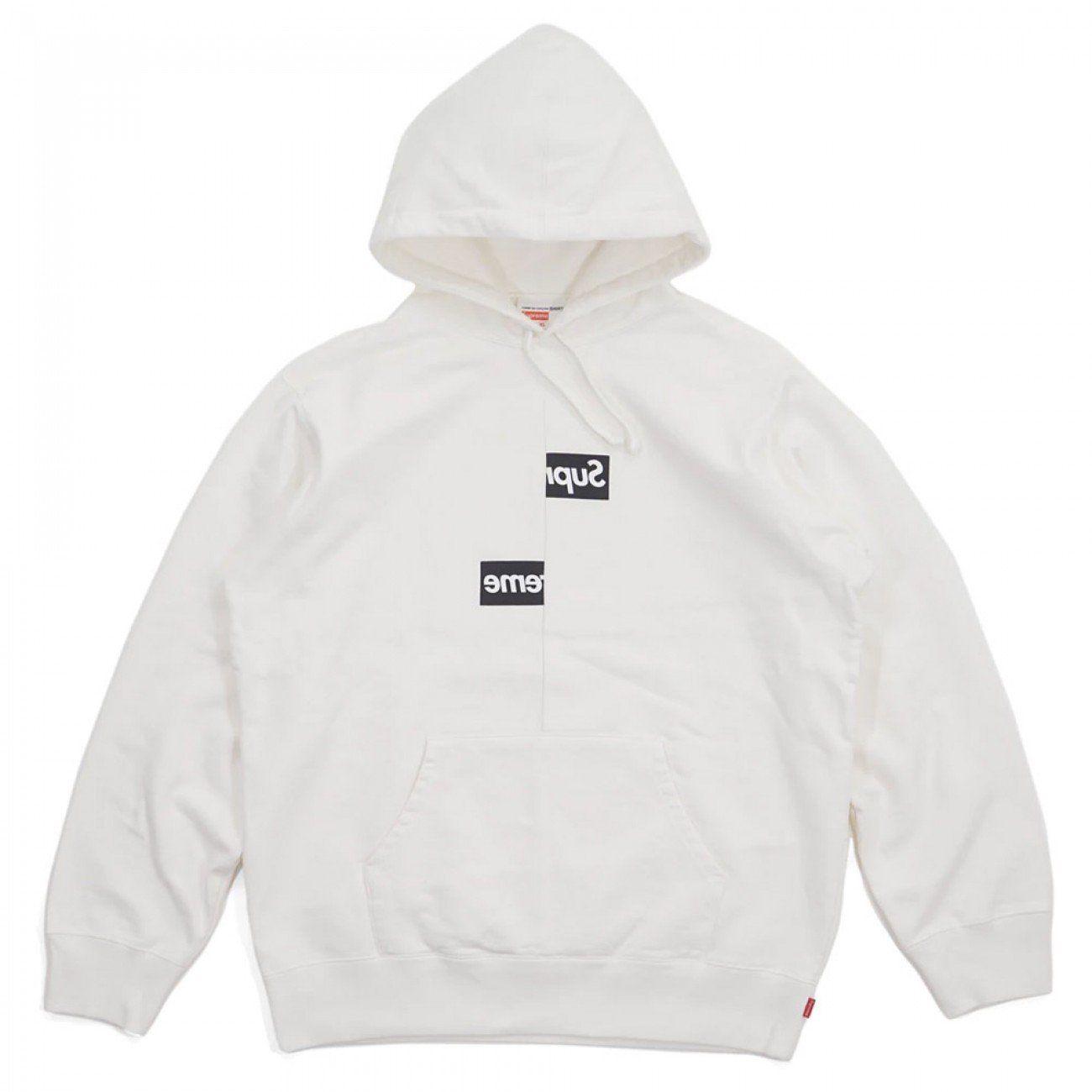 Supreme Comme Des Garcons Shirt Split Box Logo Hooded Sweatshirt White Crepsuk Hooded Sweatshirts Sweatshirts Hoodie White Sweatshirt [ 1300 x 1300 Pixel ]
