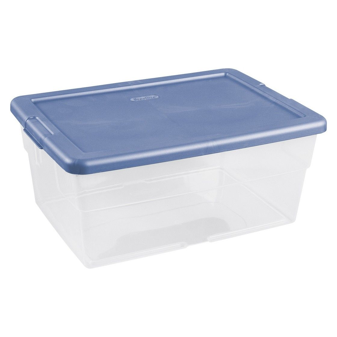 Sterilite Clearview Latch Storage Tote Set Of 12 Transparent With Blue Lid 16qt Clear Storage Bins Sterilite Storage Bins
