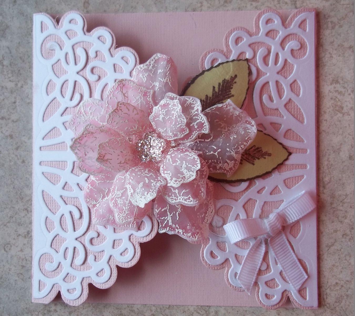 Открытка из ажурных салфеток, оригами сердце