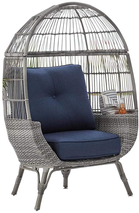 Amazon Com Outdoor Patio All Weather Wicker Stationary Egg Chair W Storage Sunbrella Cushions Grey Garden Sunbrella Cushions Indoor Chairs Egg Chair