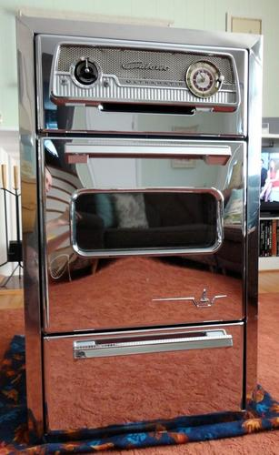 Vintage 1950s Retro Mid Century Caloric Ultramatic Chrome Gas Built In Wall Oven