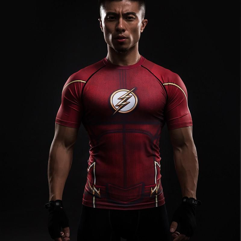 Compression shirt flash 3d printed tshirts men raglan