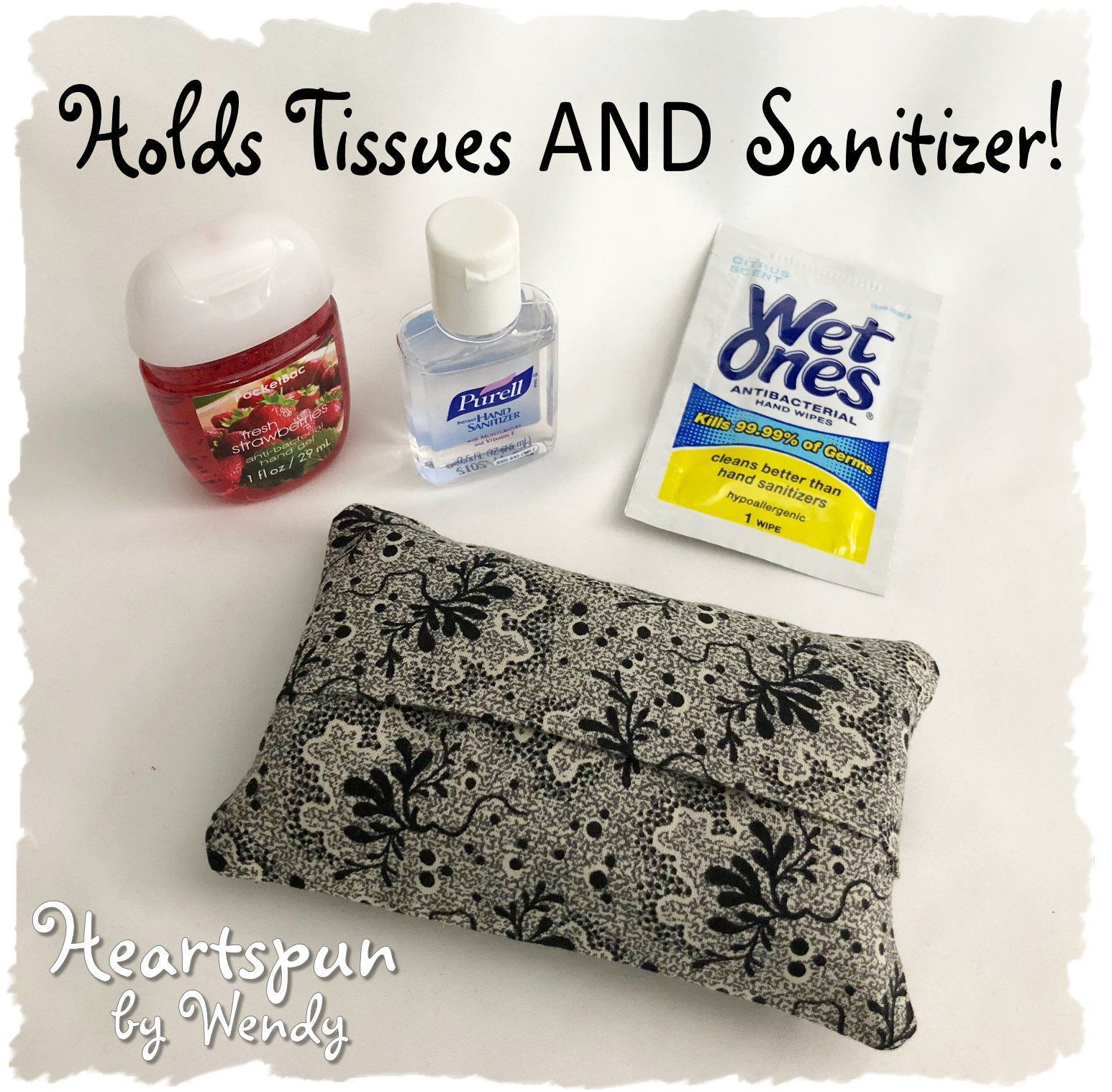 Pocket Travel Tissue And Sanitizer Holder With Back Pocket