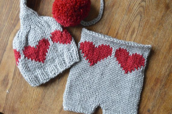Heart, Knit hat, Knit valentine hat,knit heart,newborn baby ...