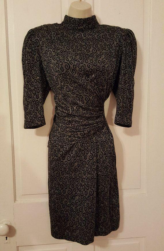 TODO lo que JAZZ vestido / / gris remolino negro impresión 80 cojines de abrigo fruncido drapeado vestido tamaño s/m hombro manga 3/4 cuello alto se burlan otoño invierno