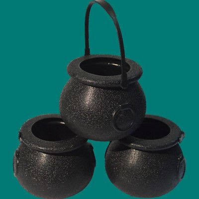 Halloween PropS Plastic Witch Cauldron Pot Candy Kettles Bucket - halloween props decor
