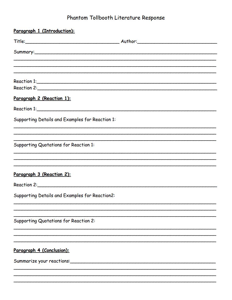 worksheet Phantom Tollbooth Worksheets phantom tollbooth literature response pdf grade 5 pinterest pdf