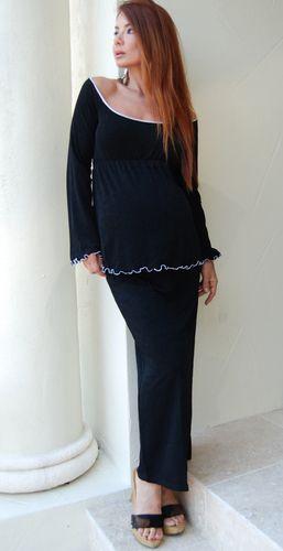 Classic Long Black Maternity Skirt