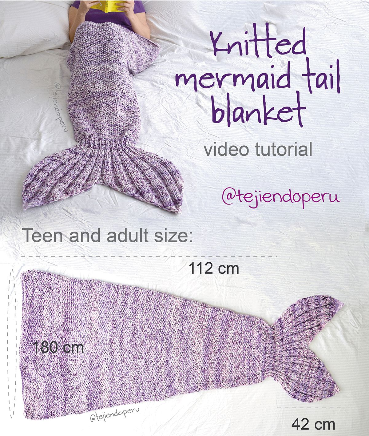 Mermaid tail knitted blanket: english subtitles video tutorial ...