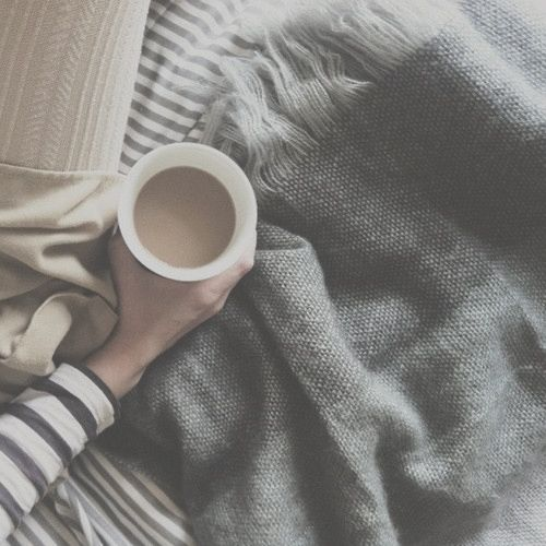 a cup of coffee while snuggling up on the couch or going back to bed