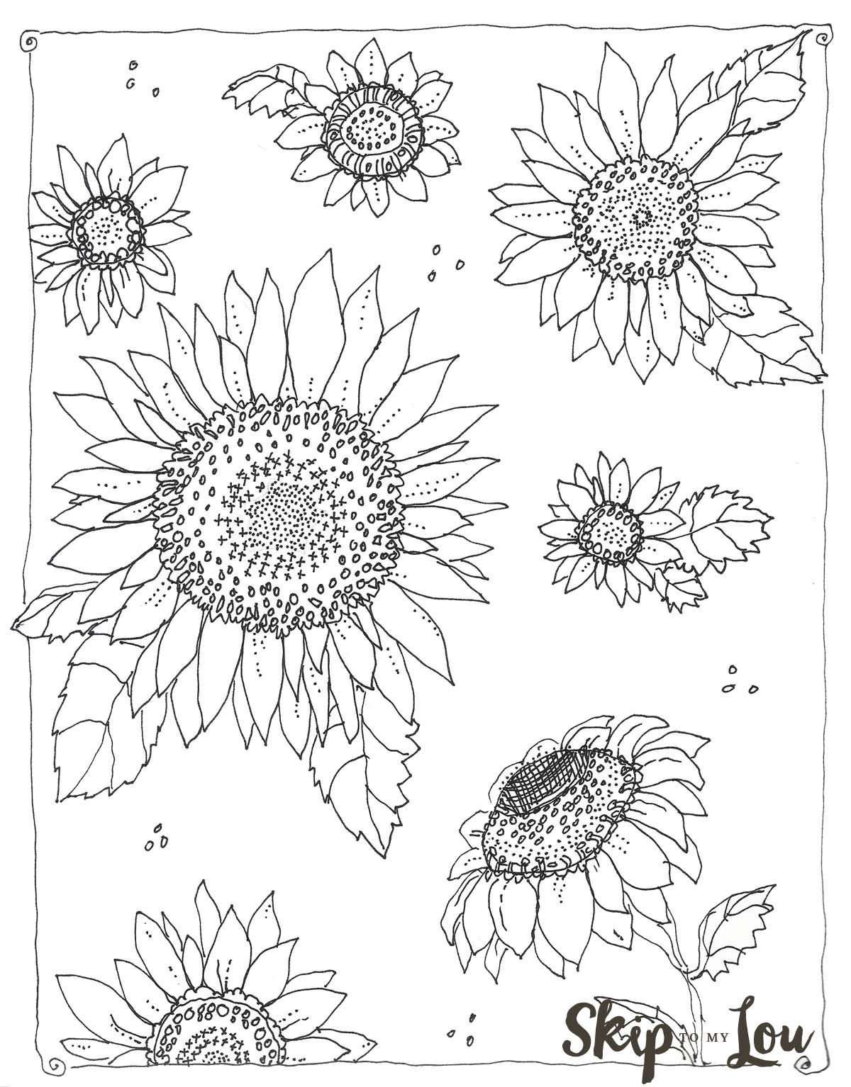 Kansas Day free sunflower coloring page Sunflower
