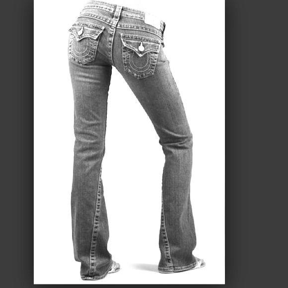 "True Religion black Joey jeans Distressed Inseam 33 top measures 28"" around True Religion Jeans"