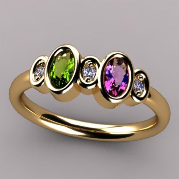 bezeled 2 stone oval mothers ring with diamond 15 year. Black Bedroom Furniture Sets. Home Design Ideas