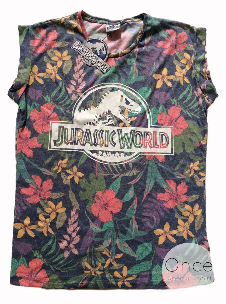 6ebd5adbc390b8 PRIMARK Ladies JURASSIC WORLD Universal Studios Tropic Floral Logo T-Shirt  in Clothes